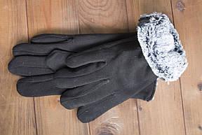 Мужские зимние стрейчевые перчатки + кролик 8194, фото 3