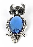 БР3800-2 Брошь сова с синим камнем 6х3см