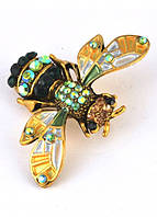 БР3800-6 Брошь цикада зеленая 4,5х3,2см