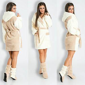 """Махровый женский домашний халат """"DUO"""" с тапочками в комплекте"""