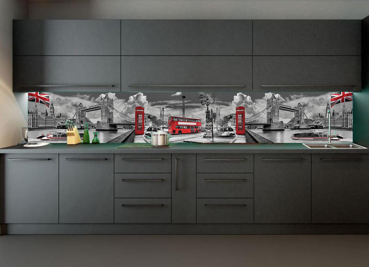 Наліпки кухонний фартух Zatarga Тауерський міст 600х2500 мм сірий