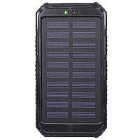 ✓Внешний аккумулятор Solar 20000 mAh Black с солнечной батареей Power Bank для смартфона и планшета