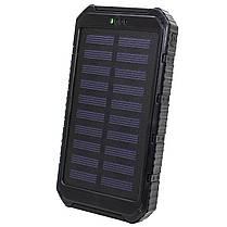 ✓Внешний аккумулятор Solar 20000 mAh Black с солнечной батареей Power Bank для смартфона и планшета, фото 2