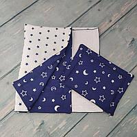 """Детский набор одеяло+подушка в кроватку/коляску """"Звездная ночь"""", двухстороннее"""
