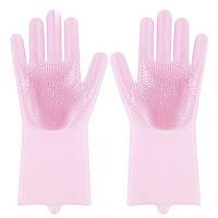 ➔Силиконовые перчатки Magic Silicone Gloves Pink для уборки чистки мытья посуды для дома