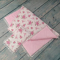 """Одеяло и подушка в детскую кроватку """"Веточка розы"""" (плюш, синтепон)"""
