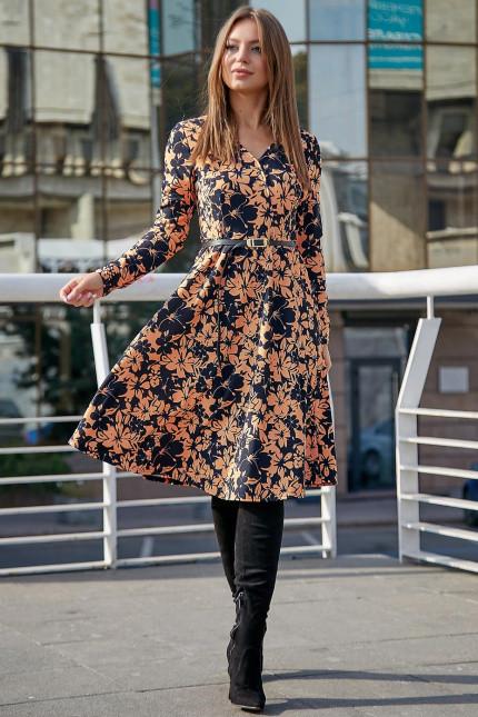 Демисезонное платье с пышной юбкой цвет т.-синий с персиковым