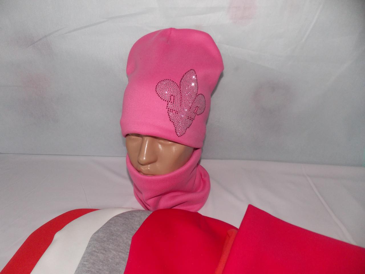 """Шапка и шарф, баф на девочку зимняя, тёплая на Флисе, модный принт """"ДИАДЕМА"""", размер 52-54."""