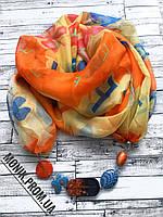 Шарф - бусы (шарф с бусами), Оранжево-желтый