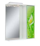 Зеркало для ванной комнаты60-01 правое Салатовые каллы