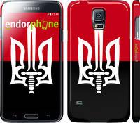 """Чехол на Samsung Galaxy S5 g900h Чорно-червоний прапор з тризубом """"1170c-24"""""""