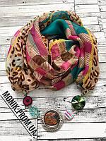 Шарф - бусы (шарф с бусами), Разноцветный