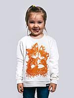 Детская яркая теплая кофта для девочки белого цвета «Fox Kids»