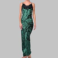 Женская пижама брюки/майка мраморный велюр M-7023 зеленая, фото 1