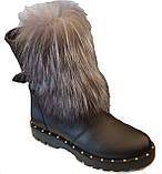 Ботинки женские зима на широком каблучке из натуральной кожи от производителя модель ЛУ436, фото 3