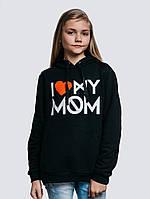 Теплая детская кофта для девочки черного цвета с капюшоном «Mom Kids»