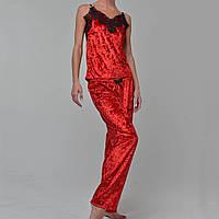Женская пижама брюки/майка мраморный велюр M-7033 красная, фото 1