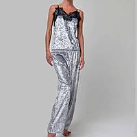 Женская пижама брюки/майка мраморный велюр M-7043 cеребро, фото 1