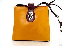 Женская сумочка маленькая 100% натуральная кожа Желтый