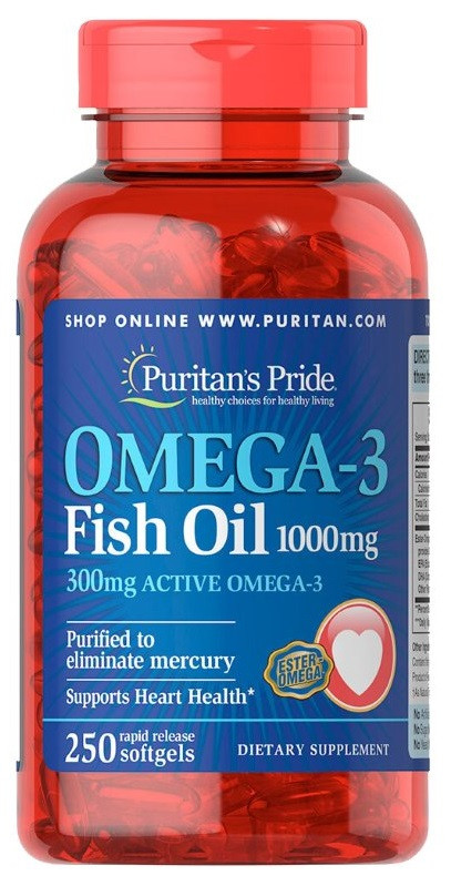 Омега Puritan`s Pride - Omega 3 Fish Oil 1000 мг (250 капсул)