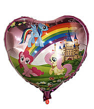 """Шар фольгированный сердце """" Маленькие Пони"""" 1442"""