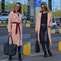 Женское кашемировое пальто на подкладке с поясом Новинка!