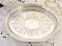 Посеребренный овальный поднос, серебрение, мельхиор, Англия, винтаж, фото 1