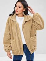 Курточка женская короткая искусственный мех цвет светло-бежевый опт, фото 1