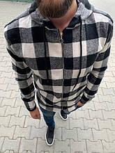Мужская стильная рубашка на замке (черно-белая) - Турция