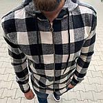 Мужская стильная рубашка на замке (черно-белая) - Турция, фото 4