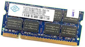 Оперативна пам'ять для ноутбука Nanya SODIMM DDR2 2Gb 800MHz 6400S CL6 (NT2GT64U8HD0BN-AD) Б/В