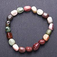 Браслет натуральный камень Яшма Мукаит галтовка d-8мм на резинке, Код товара: 3694973