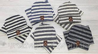 Трикотажный набор шапка и хомут р52-54 подкладка флис. 5шт упаковка
