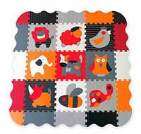 Игровой коврик-пазл Baby Great Веселый зоопарк, с бортиком, серый с белым, с оранжевым, 92х92 см 5002023