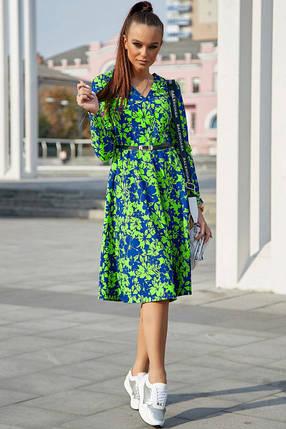 Яркое осенне платье миди с поясом и длинным рукавом цвет т.-синий с ярким зеленым, фото 2
