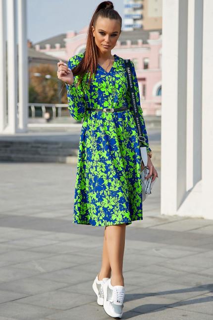 Яркое осенне платье миди с поясом и длинным рукавом цвет т.-синий с ярким зеленым