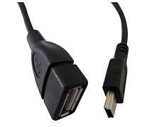 Кабель ATcom (12822) OTG USB2.0 AF -> MINI-B 5P black (длина - 0.1m, 1xUSB AF (мама) -> 1x miniUSB 5P (папа),