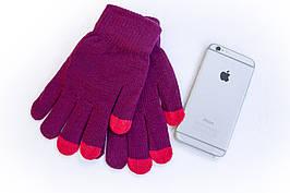 Трикотажные перчатки Корона вязаные Сенсорные Бордо 7076-2