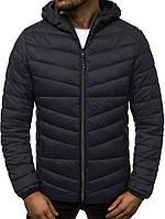 Мужская стеганая куртка на осень/весну с капюшоном, черная
