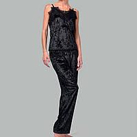 Женская пижама брюки/майка мраморный велюр M-7053 Черная, фото 1