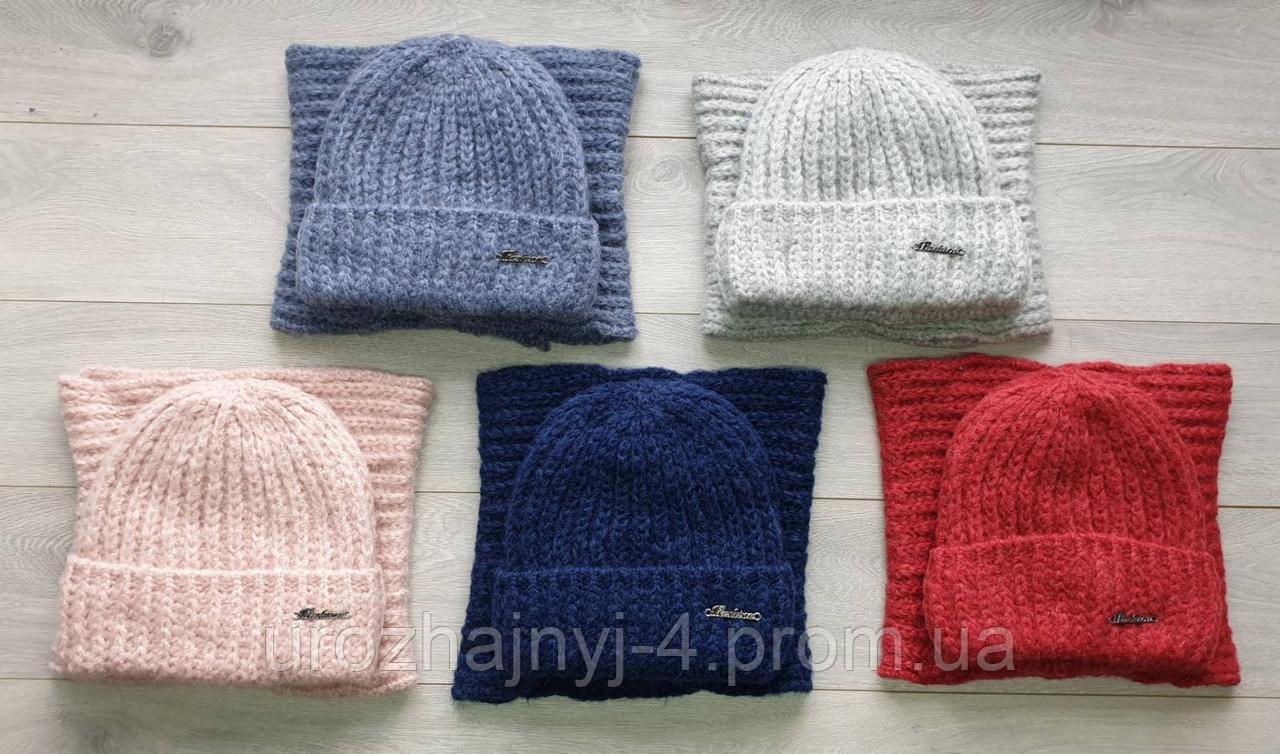 Вязаный набор шапка и хомут подкладка флис р54-56.