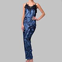 Женская пижама брюки/майка мраморный велюр M-7063 темно-синяя, фото 1