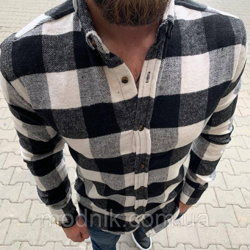 Мужская стильная рубашка (черно-белая) - Турция