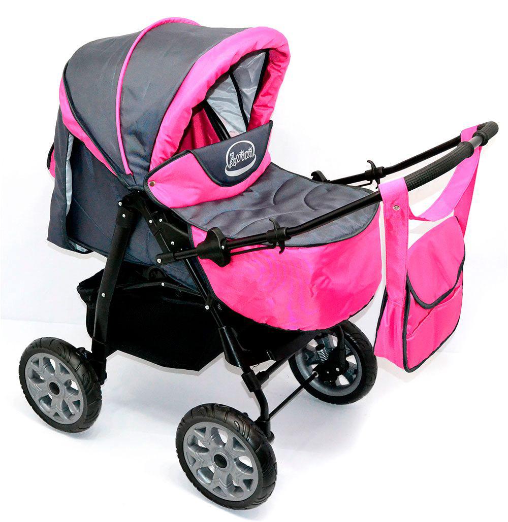 Детская коляска-трансформер Viki 86- C 12 Темно-серая с малиновым Гарантия качества Быстрая доставка