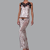 Женская пижама брюки/майка мраморный велюр M-7073 пудра, фото 1
