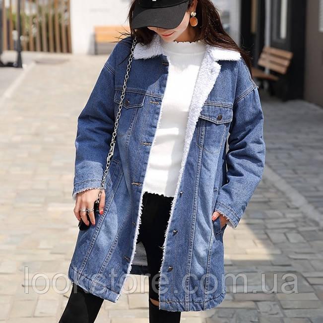 Женская теплая джинсовая куртка пальто с потертостями