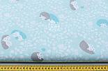 """Отрез ткани """"Бирюзово-мятные ёжики на цветочной поляне"""" на мятном №1831, размер 80*160, фото 2"""