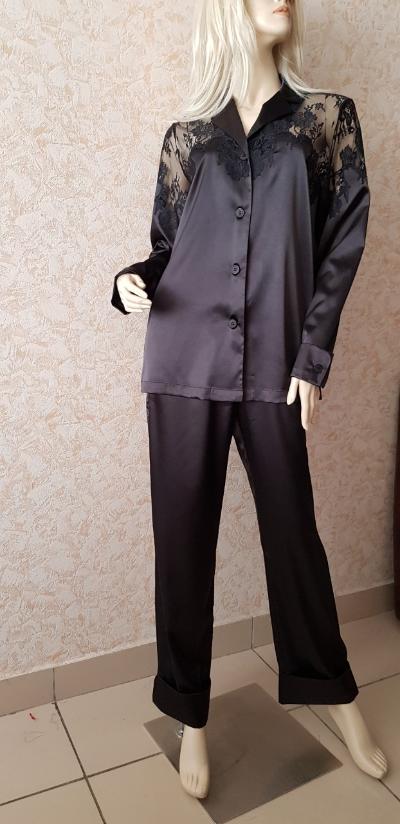 Городская шелковая пижама Suavite,с кружевом