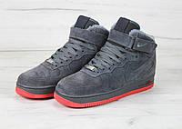 Мужские зимние кроссовки Nike Air Force Winter Grey (с мехом)