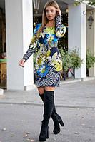 Короткое платье по фигуре с цветочным принтом цвет т.-синий с бирюзой